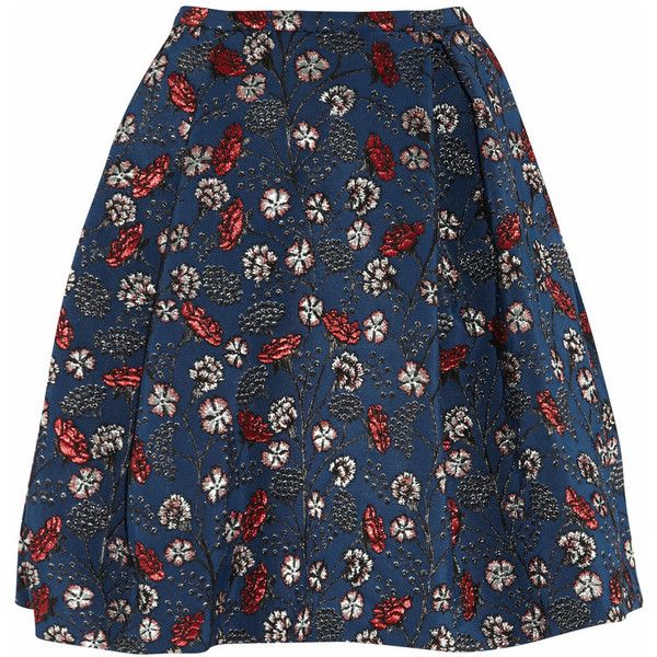 Rochas Floral jacquard skirt ($535) ❤ liked on Polyvore featuring skirts, bottoms, saias, faldas, navy, floral knee length skirt, floral printed skirt, navy blue skirt, blue metallic skirt and blue floral skirt