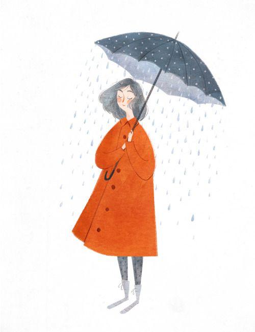 Spring showers, april, rain, umbrella, drawing, painting, design, colour, human character, illustration