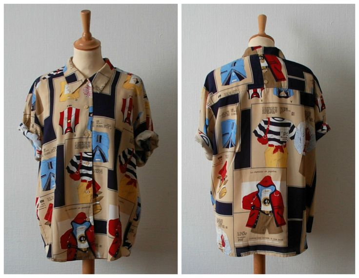 Vintage Graphic Print Blouse, Women's Size M/L by CamilleVintage on Etsy