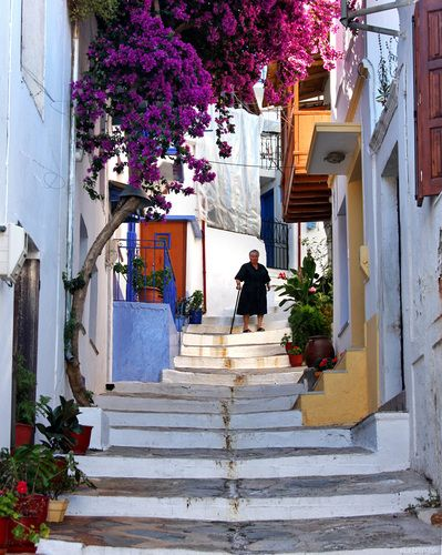 Street and stairs in Skopelos Town  Greece
