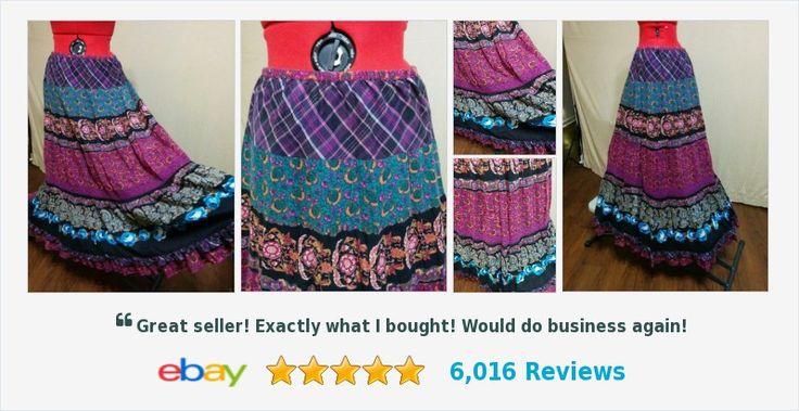 Hippie Maxi Peasant Skirt Crochet Lace Insert Bila Size L Double Ruffle Hem | eBay #bila #maxipeasanthippie