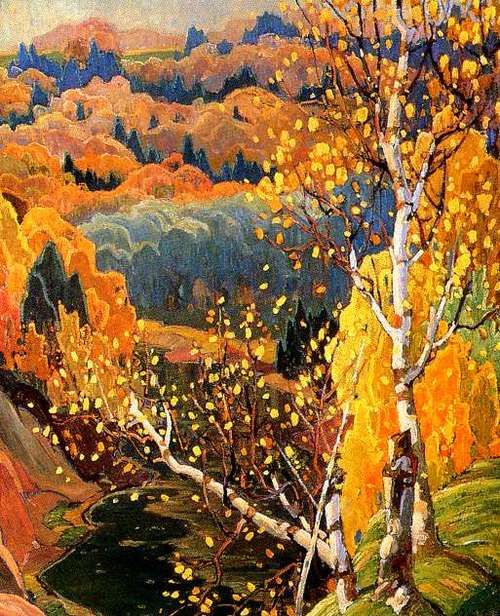 senses-working-overtime:    October gold  Frank Carmichael - 1922   National Gallery of Canada   Painting - oil on canvas