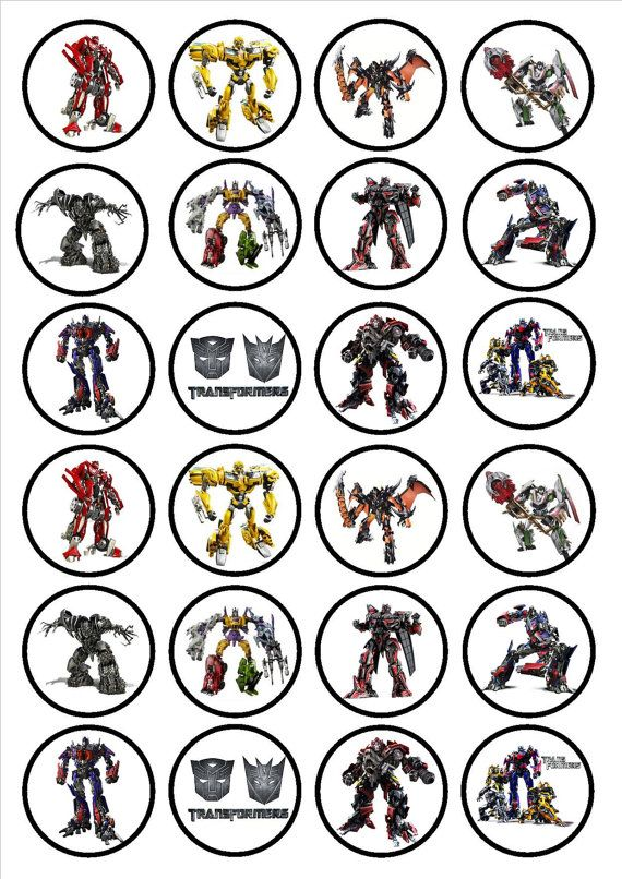 Transformers 24 x 4.5cm Edible Premium Sweetened Vanilla Wafer/Rice Paper Cupcake Decorations/Toppers