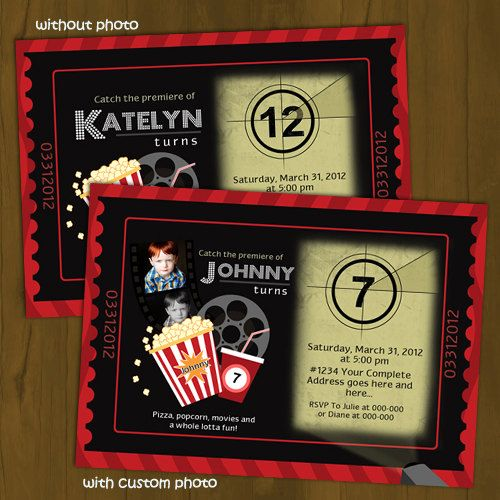The film starts rolling, and the announcement begins! Get your child this Movie Night-themed invitation that looks like a ticket and features the announcement on a movie reel projector! Works for both