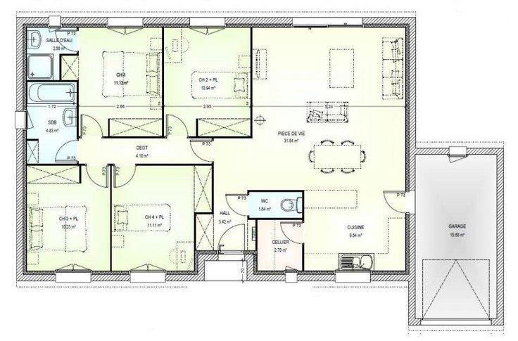 Plan maison plain pied gratuit 4 chambres 2 plan maison for Architecture de maison gratuit