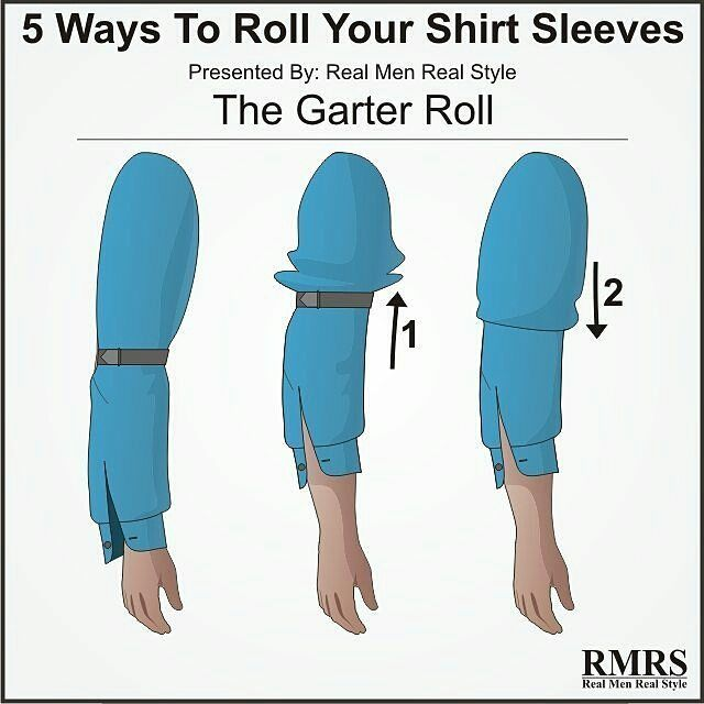 What's your take on the Garter Roll?  Though not technically a roll, this method creates a very clean look that won't fall down easily.  Tag a friend who needs this!  #menwithclass #mensclothing #instafashion #menswear #styleguide #men #instagood #dressshirt #dapper #infographic #men