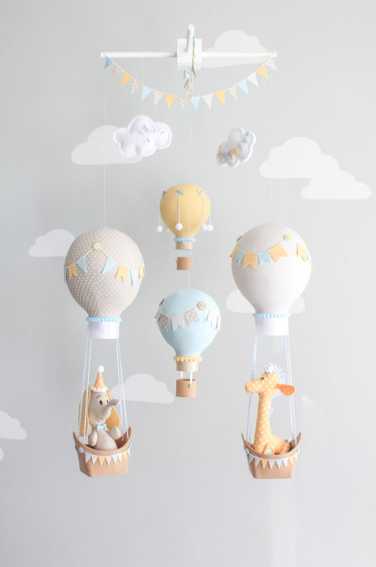 Hot Air Balloon Baby Mobile, Giraffe and Elephant Nursery Decor, Travel Theme Nursery, Orange, Aqua, Gray-Griege Nursery, i167 by sunshineandvodka on Etsy