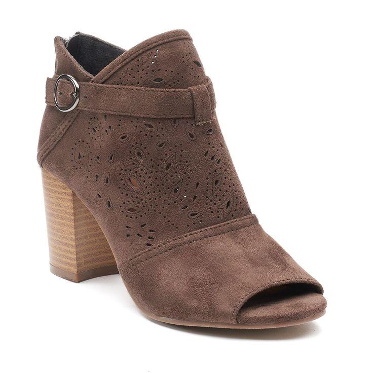 SO® Fam Women's Peep Toe Ankle Boots, Size: medium (9.5), Green Oth