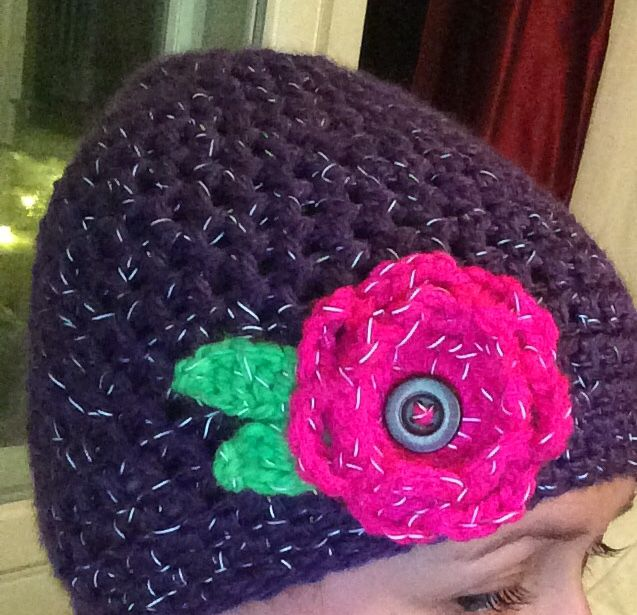 Reflective string turned into a girls hat