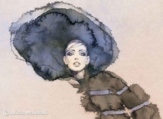 Fur hat - GICLEE fine art print. A4 or 8x11,5 inches