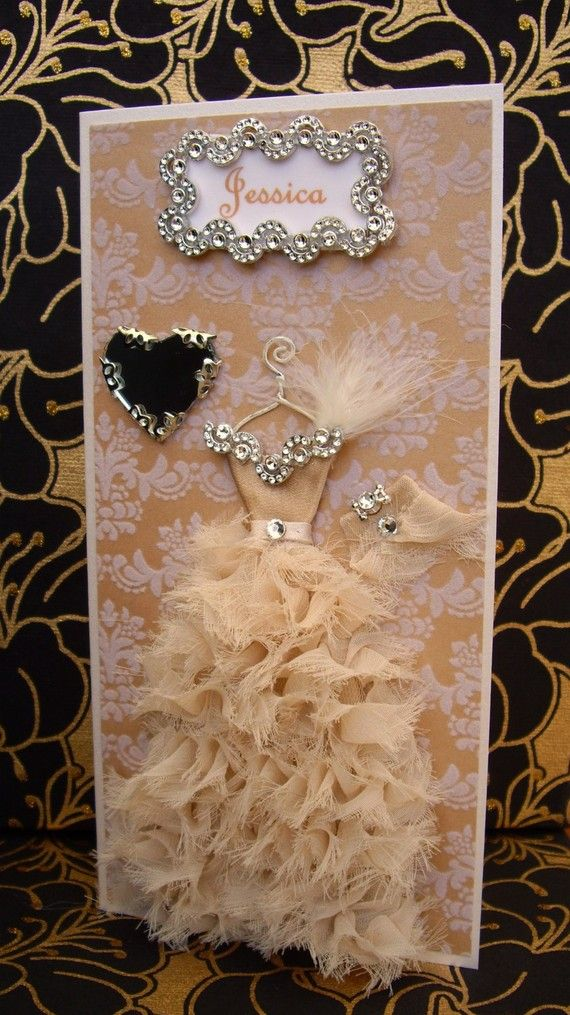 Jessica Personalized Dress Card / DL Size / Handmade by BSylvar, $19.00