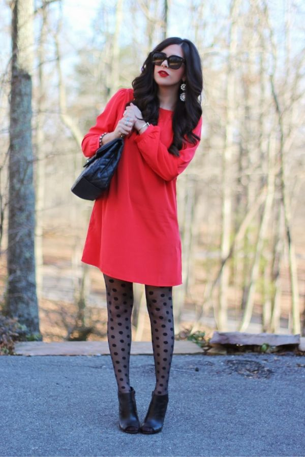 This pretty all red dress would be stylish and fun for a wedding guest!