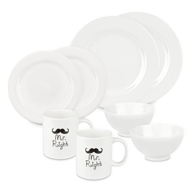 Mr and Mr Right 8 Piece Dinnerware Set