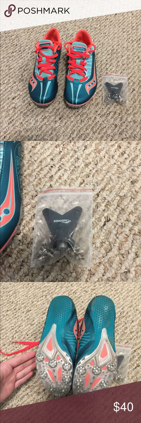 Women's 6.5 track spikes Women's size 6.5 track spikes. By saucony. In great condition, worn for about half of one track season but still in really good condition. Comes with spike inserts and the tool to insert them. Inside there are some little pieces of field turf and the logos have worn off some, please see photo. Smoke free home. I'm saving money for Christmas so check out my closet and don't be afraid to make offers :) Nike Shoes Athletic Shoes