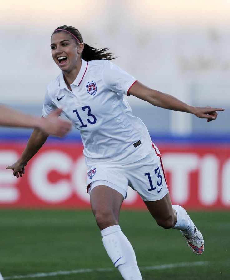 Alex Morgan after scoring the first U.S. goal against Switzerland on March 6, 2015, at the Estadio Municipal in Vila Real de Santo Antonio, Portugal, in the second round of group play in the Algarve Cup. The United States won 3-0. (Cristina Quicler/AFP/Getty Images)