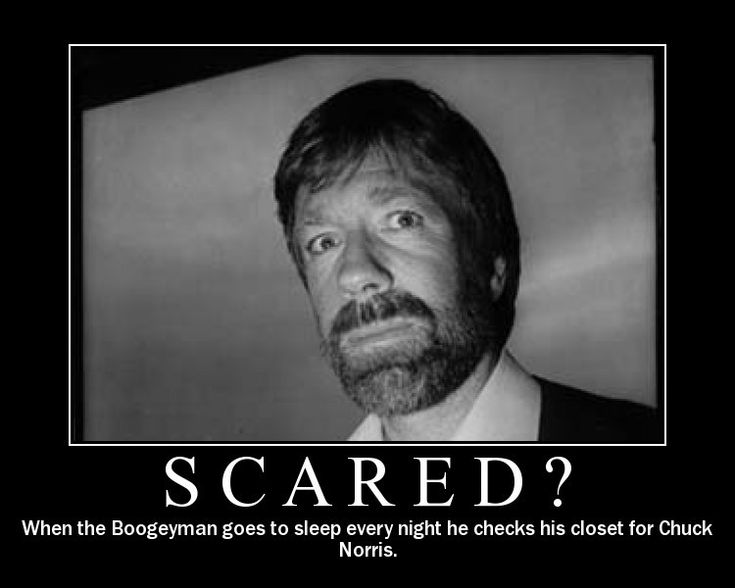 When the Boogey Man goes to sleep, he checks his closet for Chuck Norris!