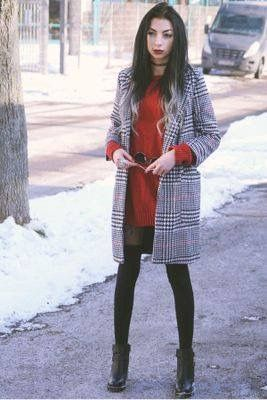 #outfit #coat #plaidcoat #reddress #boots #sunglasses #choker #tights #grunge #clotify