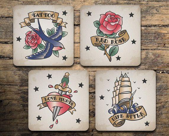Tattoo Coaster Set of 4 - Vintage Tattoo Flash - Swallow Tattoo - Rose Tattoo - Heart Tattoo - Galleon Tattoo - Drink coasters