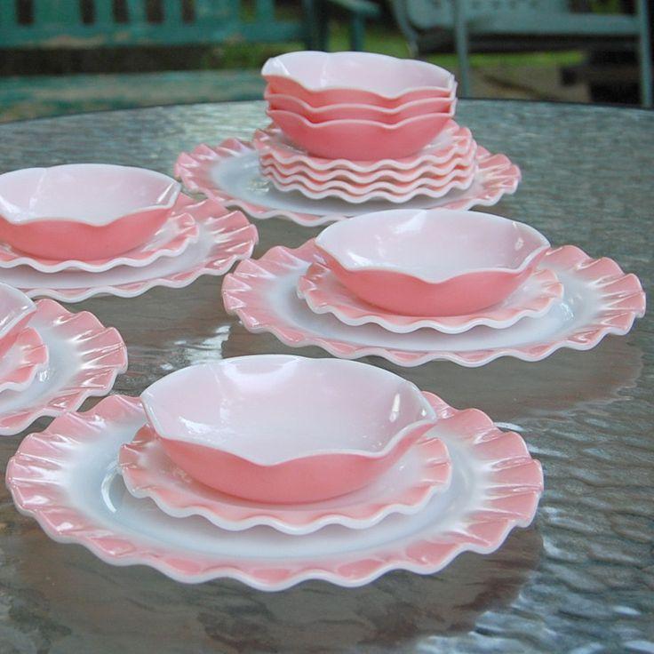 Vintage Hazel Atlas Dinnerware Pink Crinoline Piecrust Ruffle Plates. $80.00, via Etsy.