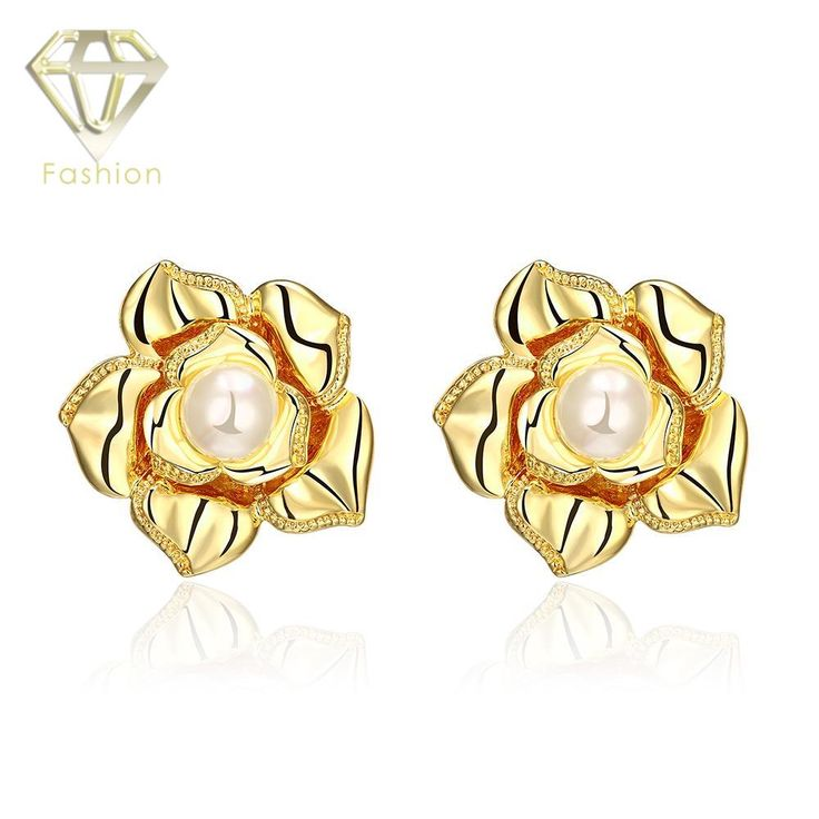 Cheap Earring Fashion /Rose Gold Color Rose Flower Shaped with Simulated Pearl Earrings Trendy Jewelry for Women