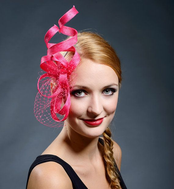 Hot Pink Fascinator  for weddings, Ascot, Derby, parties-New style for 2016 events!
