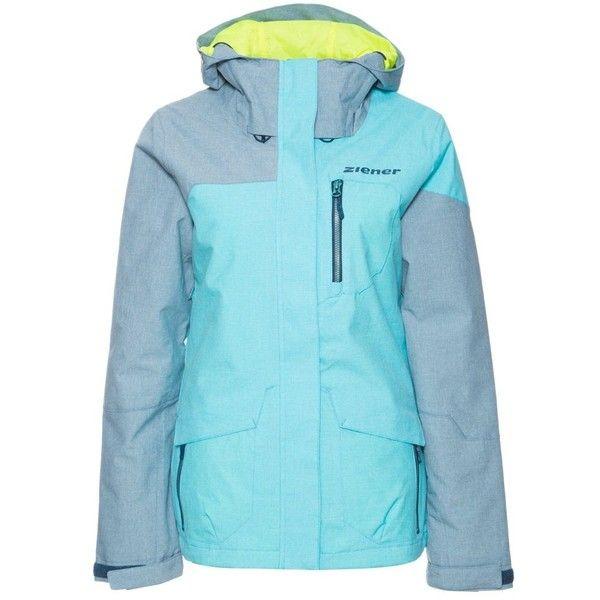 Ziener BAHAR Ski jacket waterdrop blue melange (260 BRL) ❤ liked on Polyvore featuring light blue