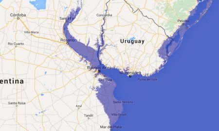 Aumento futuro del nivel del mar debido a calentamiento global. En el profundo estuario de La Plata Buenos Aires queda atrapada por el altísimo nivel del mar, y el agua entra hasta el corazón de los ríos que mueren allí. La costa de Brasil también se ve afectada, así como la de Uruguay.
