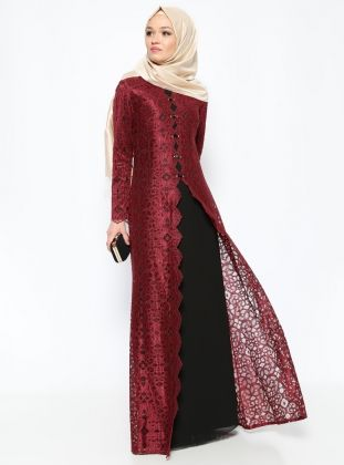 Detailed Beads Evening Dress - Black - Sevdem Abiye