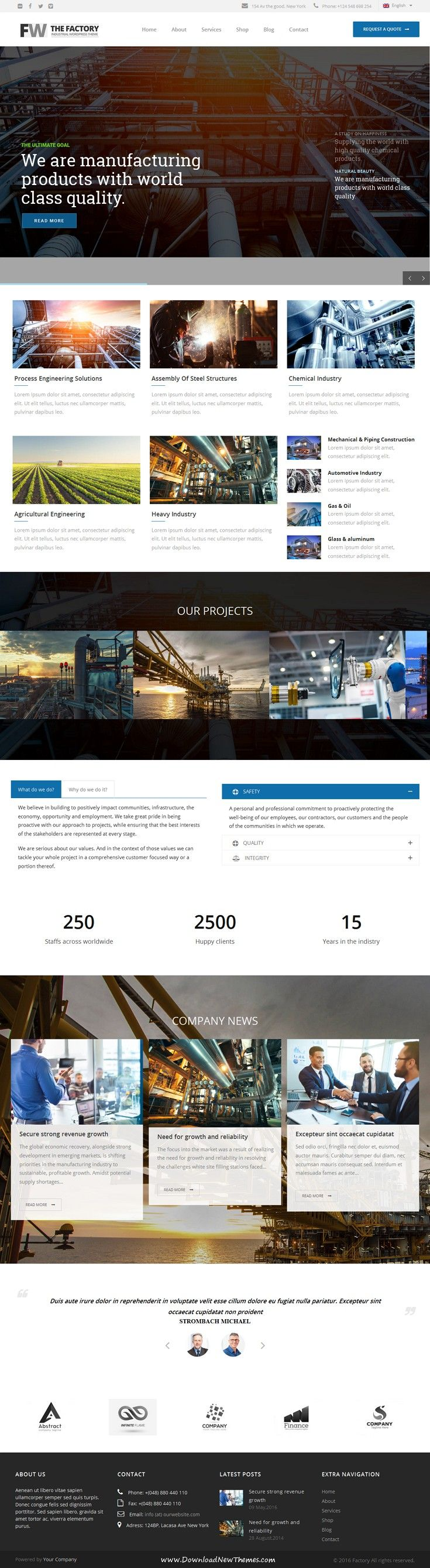 Manufacturing is a powerful WordPress theme for #factories and #industrial companies #website.