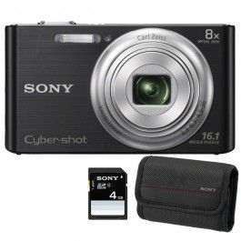 Camera foto digitala SONY DSC-W730, 16.1 Mp, 8x, negru + geanta + card SD 4GB