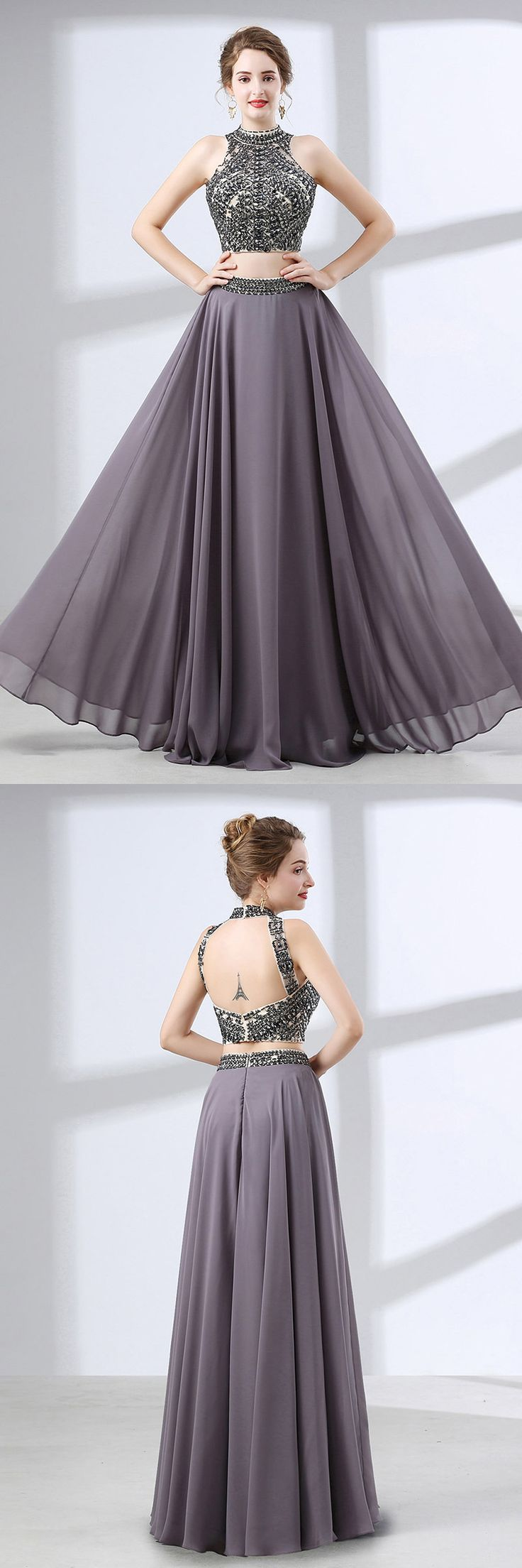 Only $139, Evening Dresses Two Piece Vintage Grey Formal Dress Long With Crystal Halter Top #CH6645 at #GemGrace. View more special Special Occasion Dresses,Prom Dresses,Evening Dresses now? GemGrace is a solution for those who want to buy delicate gowns with affordable prices, a solution for those who have unique ideas about their gowns. 2018 new arrived, shop now to get $10 off!