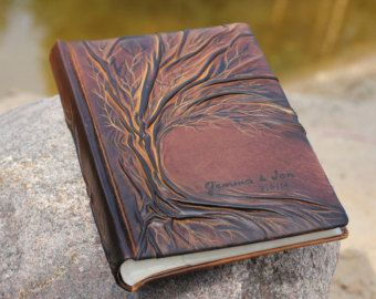 Wedding leather Photo album 13 x 9 with Tree of Life by crearting
