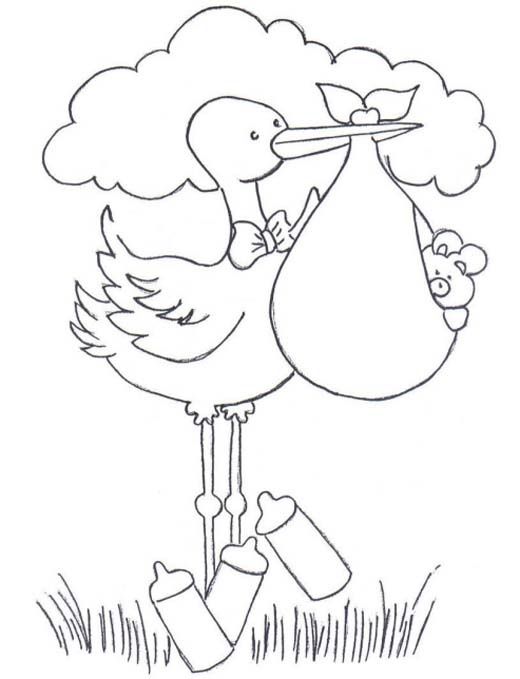 stork with baby coloring pages - photo#32