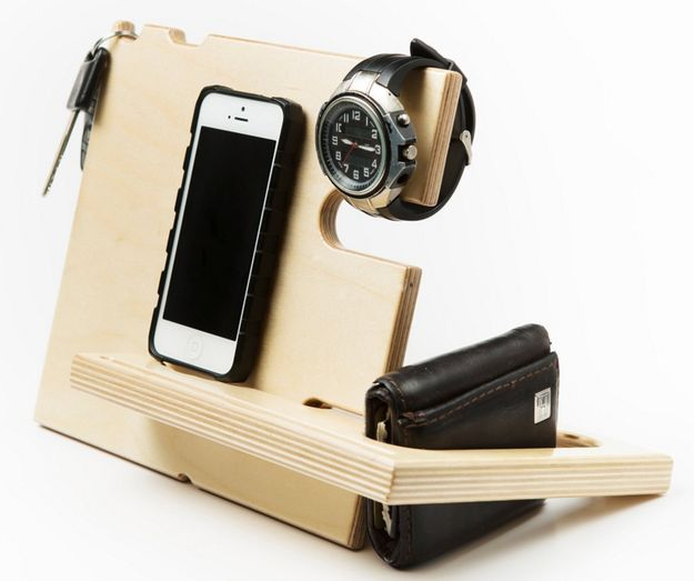 A wooden catch all system to keep your keys, phone, wallet, and watch organized. | 35 Awesome Handmade Things You Can Find On Amazon