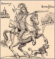 Prince Rupert sacking Birmingham as his pet dog trots at his feet.