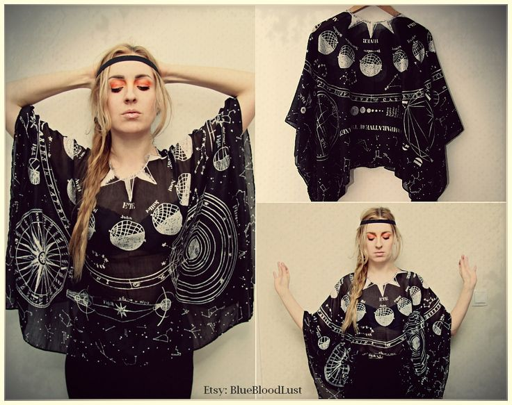 cool tunic on Etsy https://www.etsy.com/shop/BlueBloodLust #universe #moon #stars #sky #fashion #planets #occult #print #printed #designer