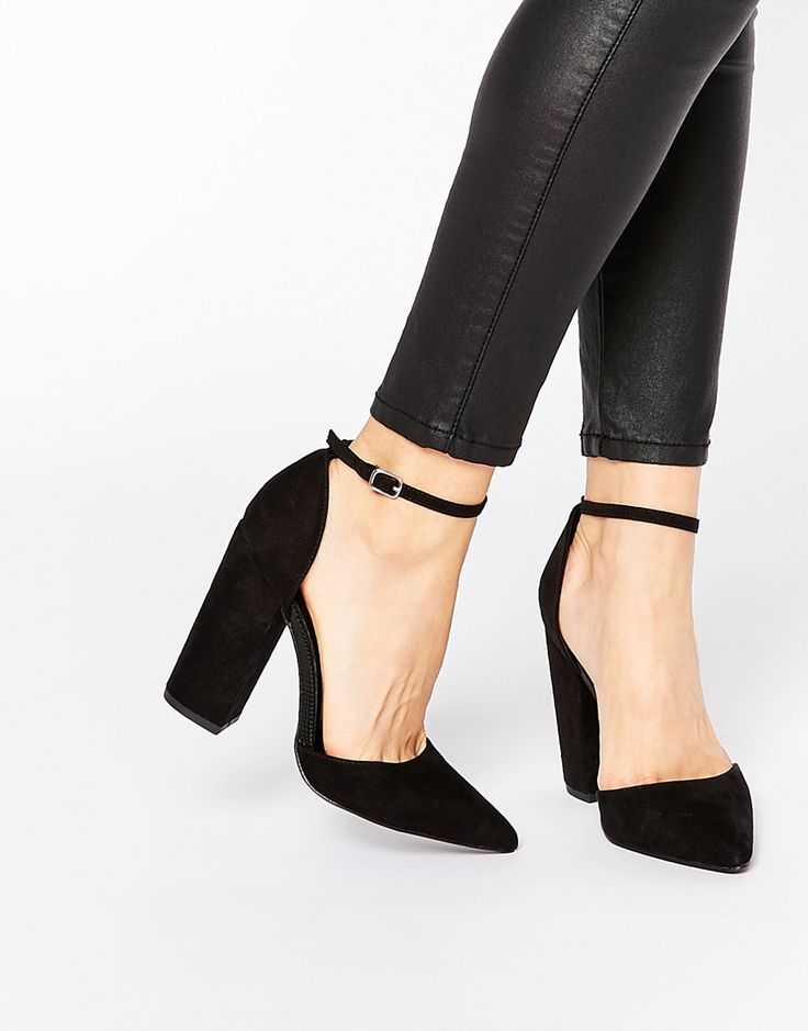 Image 1 ofNew Look Two Part Block Heeled Shoes