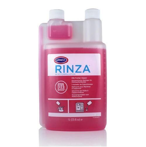 Rinza Acid Formulation milk frother cleaner: Breaks down milk protein buildup & milk stone; Cycles through auto-frothers for easy cleanup; Also cleans traditional steam wands and steel pitchers;         Built-in measuring device delivers over 30 uses per bottle; For use on machines recommending acid milk system cleaning; Red colour to distinguish between the acid & alkaline formulas