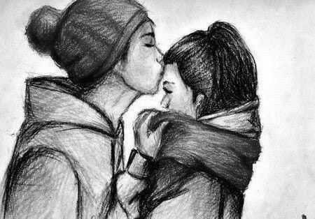 Sweet, kisses, live, teenagers, cute, painting, black-white, whatever, cold, babe