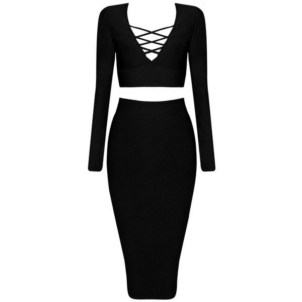 Long Sleeve Lace Up Midi Two Piece Bandage Dress Black (3.277.715 VND) ❤ liked on Polyvore featuring dresses, gowns, long-sleeve midi dresses, 2 piece gown, two piece bandage dress, long sleeve midi dress and long sleeve two piece dress