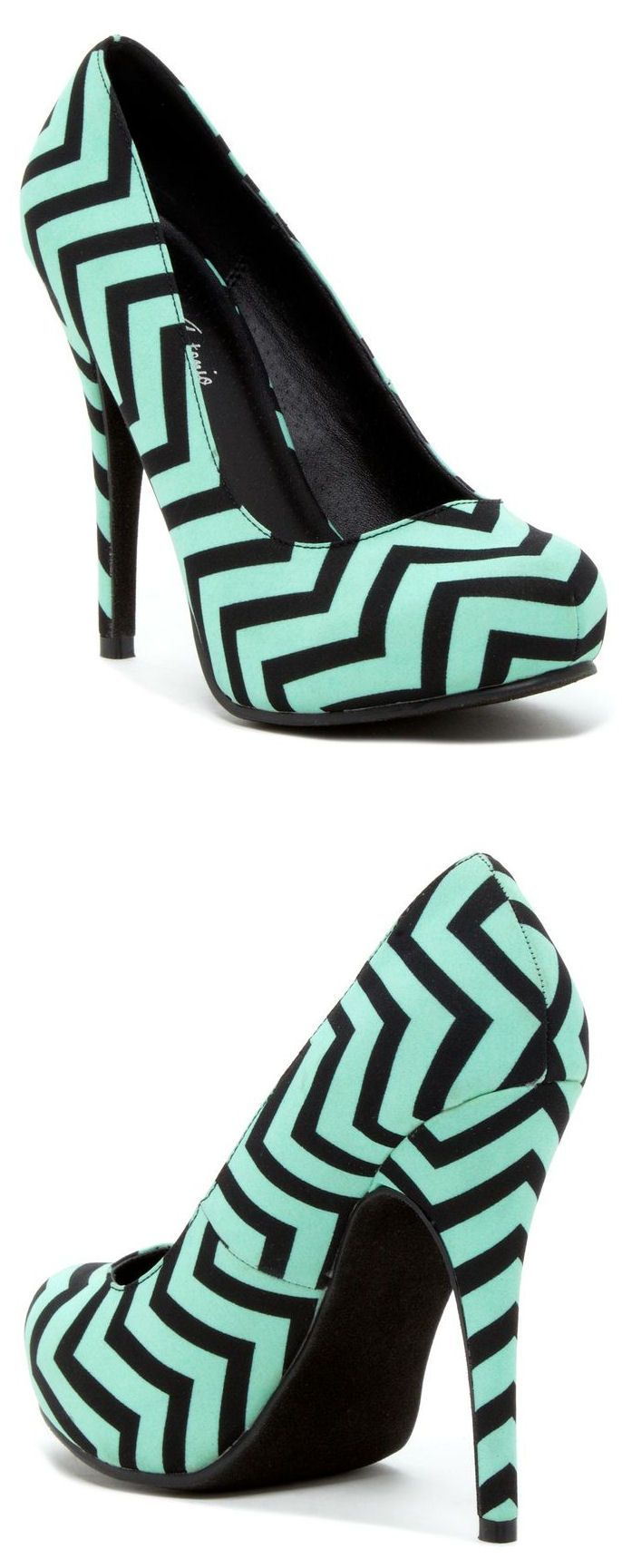 Mint Chevron Pumps //