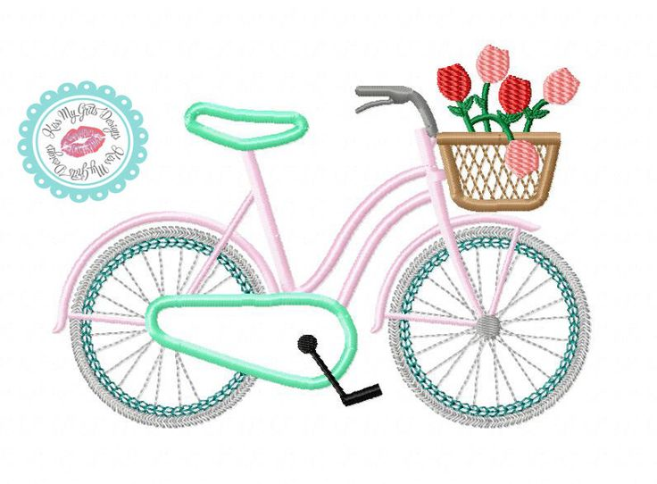 Bicycle with basket of flowers machine embroidery applique