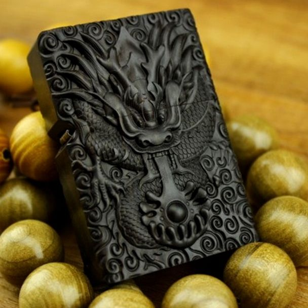 Japanese Designed Wooden Engraved Tornado Dragon Zippo Lighter