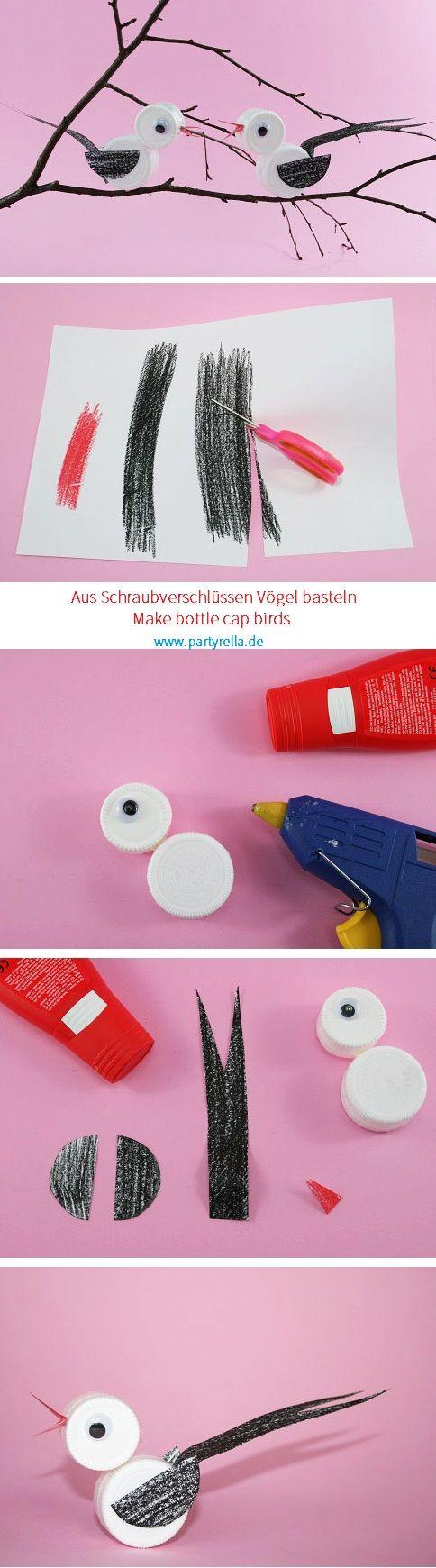 bottle cap bird craft for kids / Mit Kindern Vögel aus Schraubverschlüssen basteln