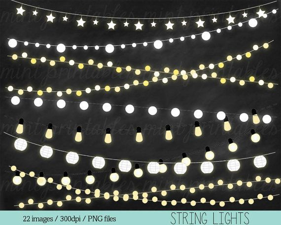 Lights Clipart, Fairy Lights Clipart Clip Art, String Lights Clipart, Holiday…