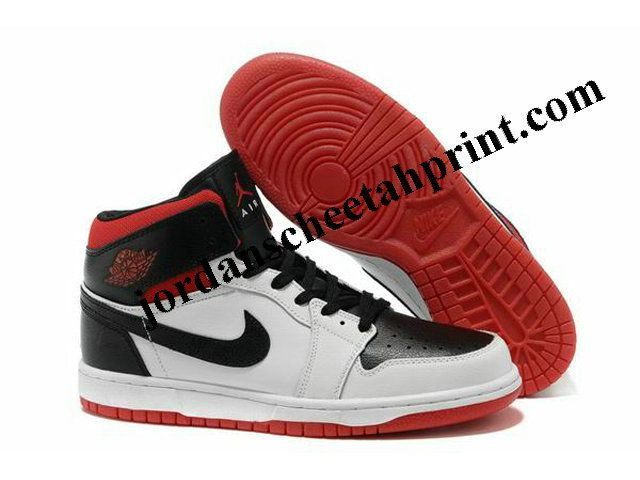 New Nike Air Jordan 1 Shoes Black/White/Red For Sale