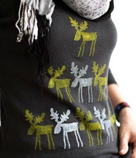 Tişörtü Geyik Motifleri ile Süsleme