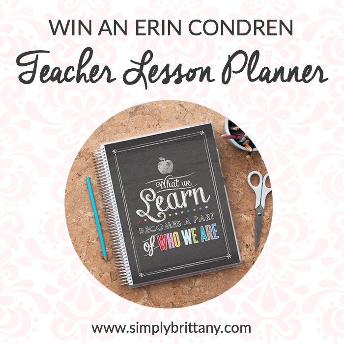 Enter to win an Erin Condren Teacher Lesson Planner!