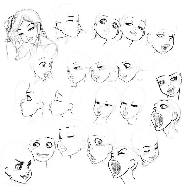 Line Drawing Female Face : Female cartoon faces  sketches and line art for