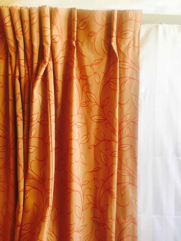 We have a massive set of eight of these stunningly opulent curtains. They are all 210 cms long,and are of various widths. The mustard and red colouring is so on trend at present.